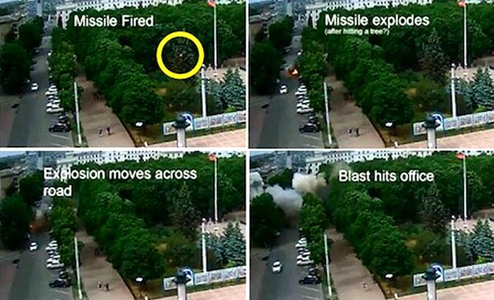 La sequenza della caduta del missile sul parco e dell'esplosione in quattro fermi immagine, tratti da uno dei filmati che abbiamo deciso di mostrarvi.