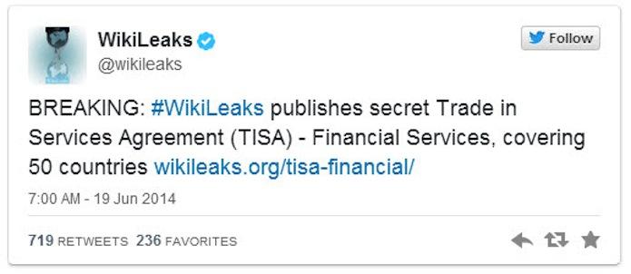 Il tweed di Wikileaks che annuncia la pubblicazione di alcuni stralci del Trattato sugli scambi nei servizi (Tisa).