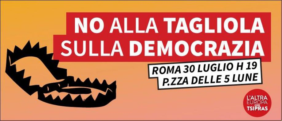 """""""Riforme"""", L'Altra Europa contro la tagliola di Renzi"""