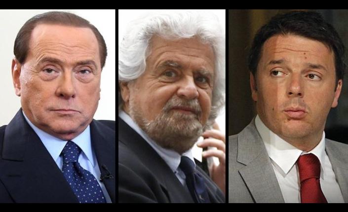 I leader dei tre principali partiti: Silvio Berlusconi (Forza Italia), Beppe Grillo (Movimento 5 Stelle) e Matteo Renzi (Partito democratico). Se l'Italicum diventasse legge probabilmente saranno gli unici tre ad avere una rappresentanza in parlamento.