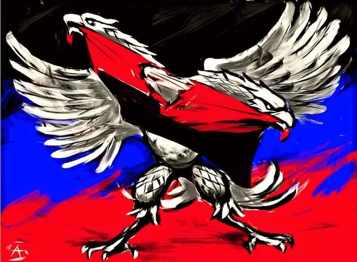 L'aquila della Repubblica del popolo del Donetsk sbrana la bandiera rosso-nera del partito nazista ucraino Pravy Sektor, che combatte in prima linea contro i separatisti.