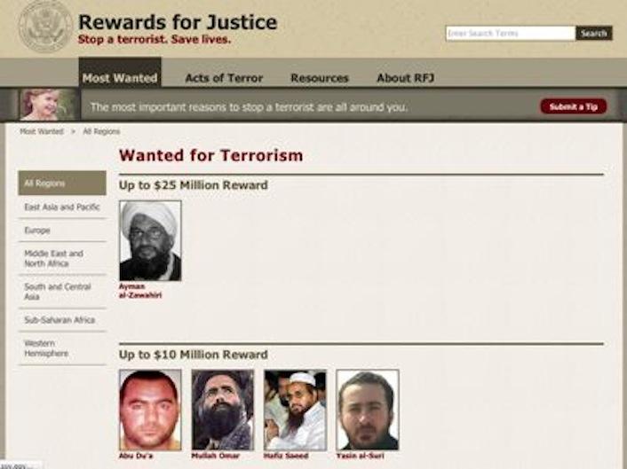 Ibrahim al-Badri, alias Abu Du'a, alias Abu Bakr al Baghdadi figura nella lista dei cinque terroristi più ricercati dagli Stati Uniti (Rewards for Justice) già dal 4 ottobre 2011.
