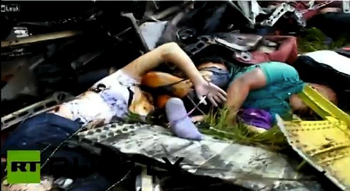 I corpi di due passeggeri tra le lamiere dell'aereo abbattuto.