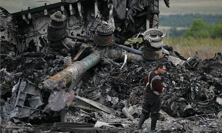 I rottami dell'aereo malese, precipitato nell'Ucraina orientale.