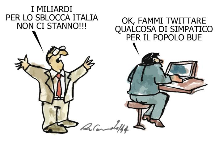 La Merkel, il palo e CalderoliDog, l'umorismo graffiante di Tiziano Riverso