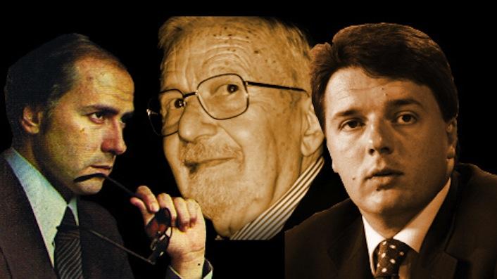 Sullo sfondo l'ex capo della Loggia P2 Licio Gelli. In primo piano i due protagonisti della riforma costituzionale: l'ex presidente del consiglio, nonché membro della Loggia P2 e gran maestro massone, Silvio Berlusconi, e l'attuale premier Matteo Renzi.
