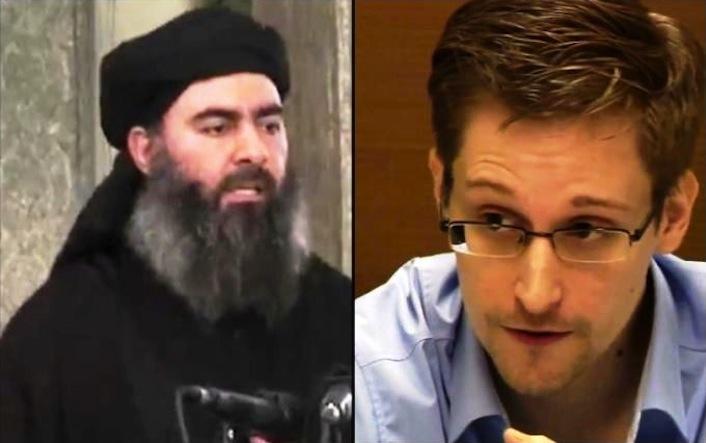 Il leader dell'Isil Abu Bakr al Bagdadi e l'ex agente dell'Nsa Edward Snowden.