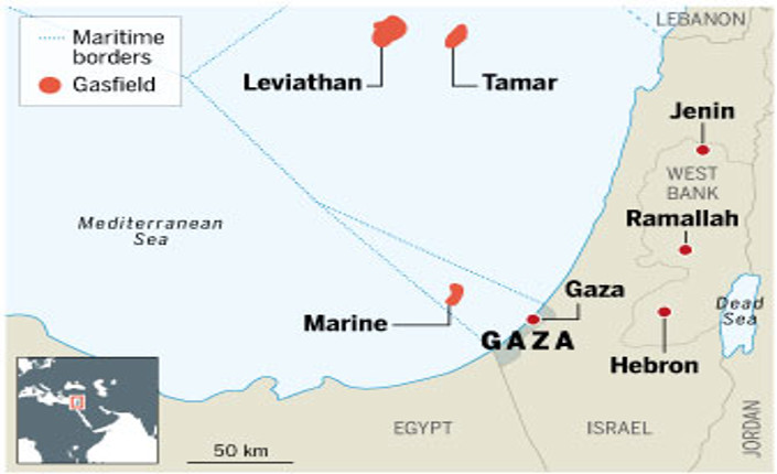 Gaza Marine 1 e 2 mappa