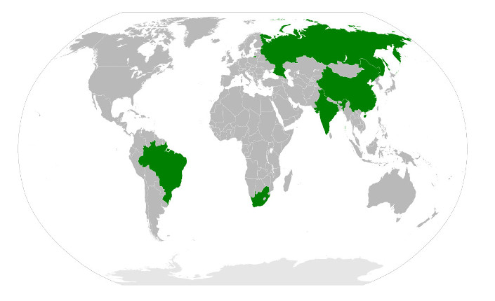 In verde gli Stati che costituiscono il BRICS