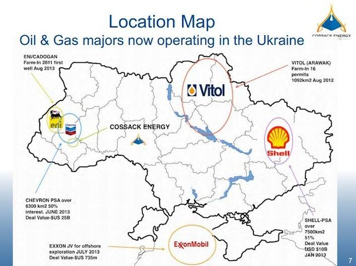 Dove le multinazionali estraggono energia in Ucraina. Eni, Chevron e Cossack Energy a ovest, Vitol a nord, ExxonMobil a sud, Shell e Burisma (che sulla mappa non è indicata) a est.