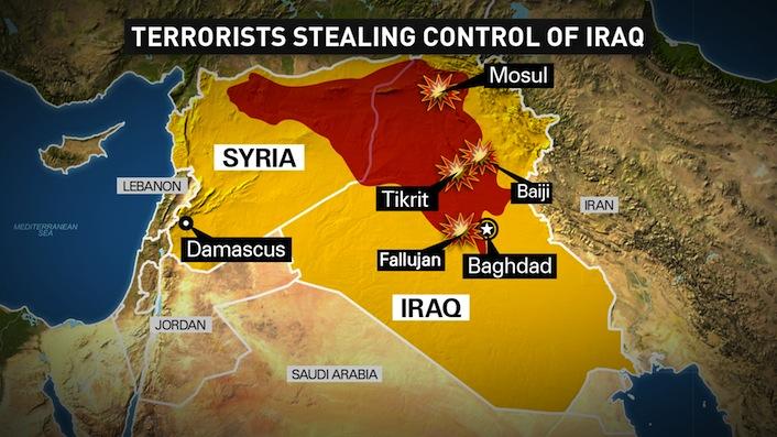 L'area della Siria e dell'Iraq in mano ai jihadisti dell'Isil.