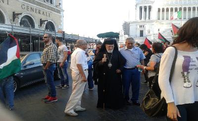 Mons. Capucci alla manifestazione pro-Palestina Roma 27 settembre 2014