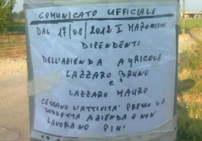 I quaranta lavoratori marocchini sono stati licenziati con questo foglio di carta attaccato con lo scotch a un albero.