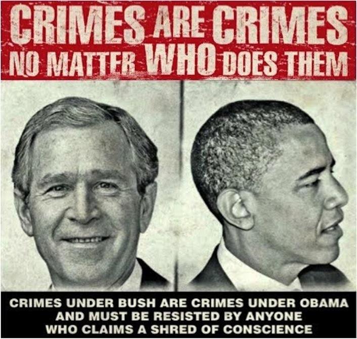 «I crimini sono crimini. Non ha importanza chi li commetta. Crimini sotto Bush e crimini sotto Obama. Ciascuno di noi dovrebbe farsi un esame di coscienza».