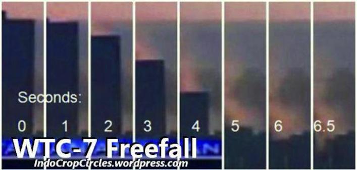Il crollo dell'edificio 7 secondo per secondo. Dalla sequenza fotografica si vede la stranissima caratteristica del crollo del grattacielo. Sembra un pilastro che si inabissa verticalmente, sparendo tra le macerie del World Trade Center.