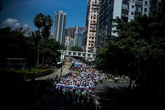 Anti-Occupy Central Stages A 'Walk For Peace And Universal Suffrage'