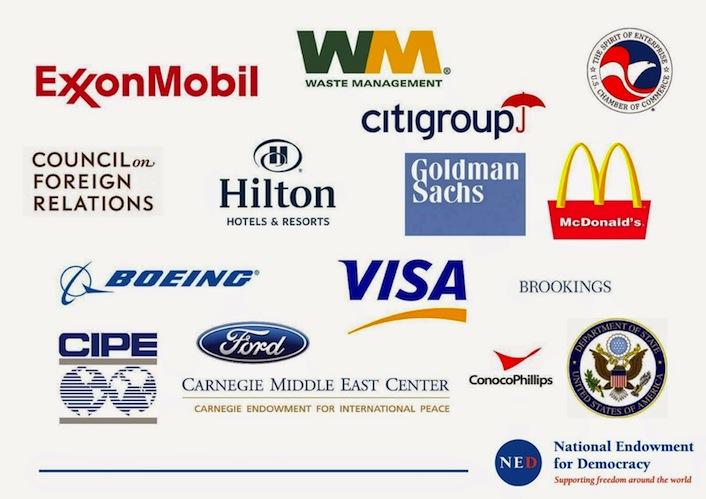 Le multinazionali, le banche e le società finanziarie che sostengono economicamente il Ned e le rivoluzioni sponsorizzate e organizzate dal dipartimento di Stato Usa.