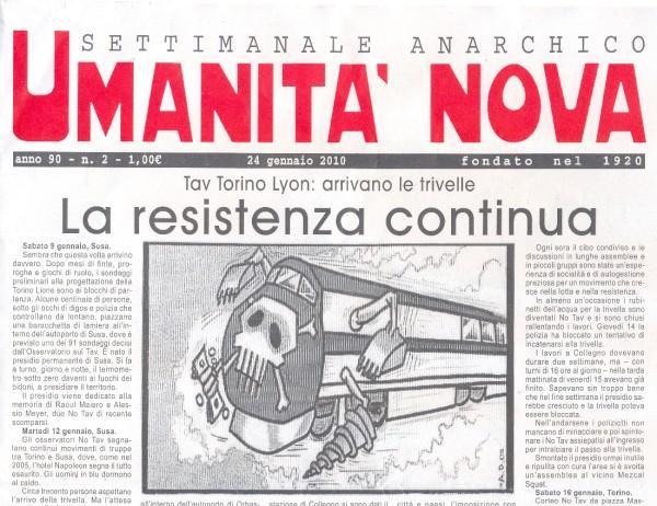 Salva Umanità nova, l'anarchia di carta