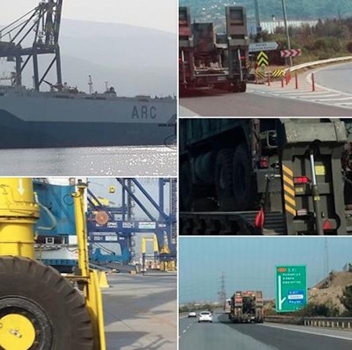 Nel collage di foto, le immagini di uno dei camion militari che hanno trasportati armi dalla nave Usa alle basi dell'Isis in territorio siriano.