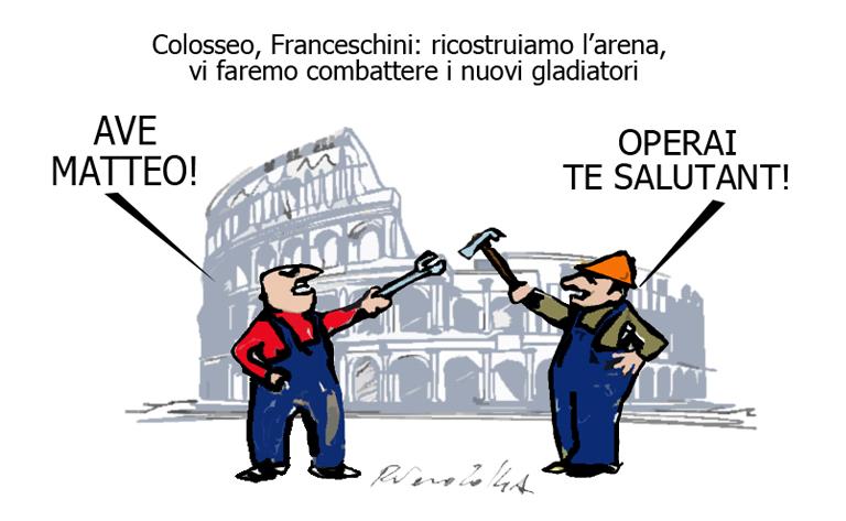 Hulk, Franceschini e il Colosseo, l'umorismo graffiante di Tiziano Riverso