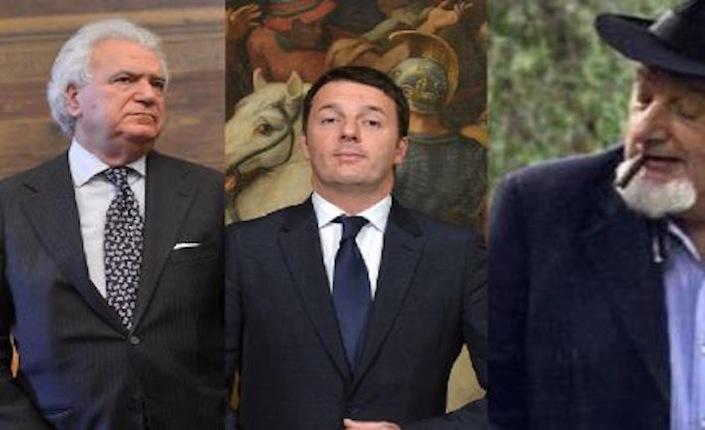 Da sinistra, il senatore di Forza Italia Denis Verdini, il presidente del consiglio Matteo Renzi e suo padre, Tiziano.