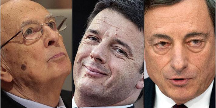 Da sinistra, il presidente della Repubblica Giorgio Napolitano, il presidente del consiglio Matteo Renzi, il presidente della Banca centrale europea Mario Draghi. Secondo Magaldi, Napolitano e Draghi sono massoni, mentre Renzi sarebbe solo un aspirante muratore.