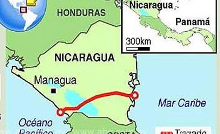 tracciato del Gran Canale di Nicaragua