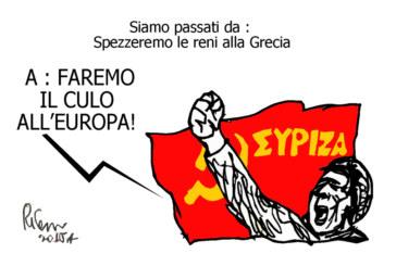 Tsipras, la trottola e il Nazareno, l'umorismo graffiante di Tiziano Riverso