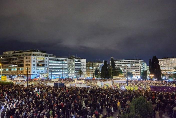 11 febbraio, piazza Syntagma contro il ricatto Ue al governo di sinistra greco