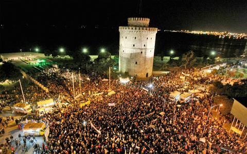 11 febbraio 2015, Salonicco, sotto la Torre Bianca contro il ricatto Ue al governo di sinistra greco