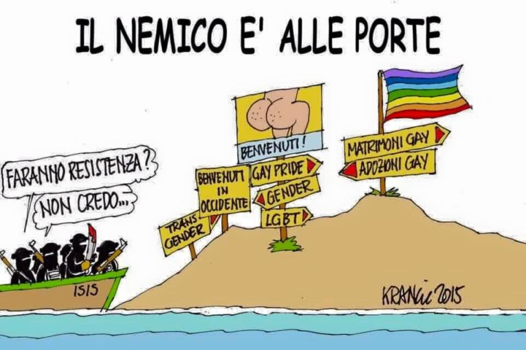 Isis e omofobia, tutto in una vignetta