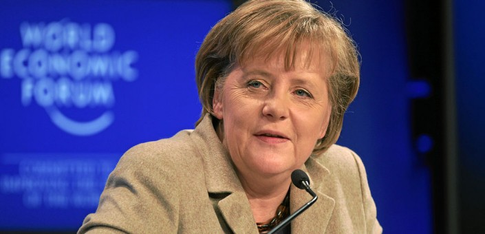 Il premier tedesco Angela Merkel la cui prudenza ha chiuso fin dall'inizio a exit strategy alternative per la crisi greca (By World Economic Forum [CC BY-SA 2.0 (http://creativecommons.org/licenses/by-sa/2.0)], via Wikimedia Commons)