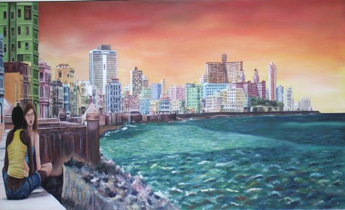 La Habana il Malecòn visto dalla pittrice Nieves García Segovia in arte Nigase. Collezione Colores de Cuba