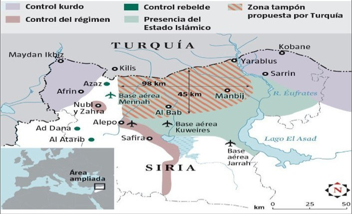 La frontiera contesa tra Turchia e Siria. Fonte: Institute for the study of war