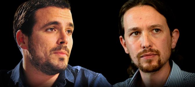 Alberto Garzon, leader di Iu e Pablo Iglesias, di Podemos