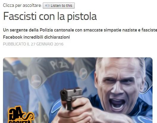 Fascisti con la pistola, e in divisa. Malapolizia in Svizzera