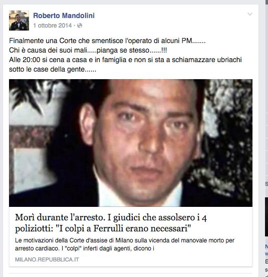 dal profilo fb di uno dei carabinieri indagati del processo Cucchi