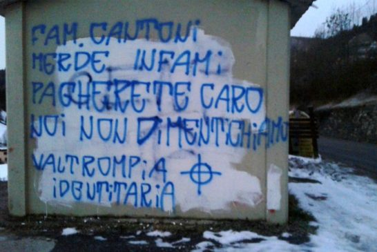 07-01-2016 Bovegno. Scritta contro la famiglia  Cantoni-ori
