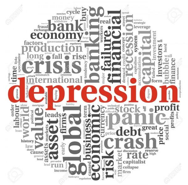 16048203-Depressione-e-crisi-del-concetto-di-info-grafica-di-testo-su-sfondo-bianco-Archivio-Fotografico