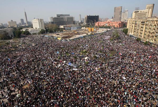 Piazza Tahrir, 2011. Forse la più grande dimostrazione della storia dell'umanità