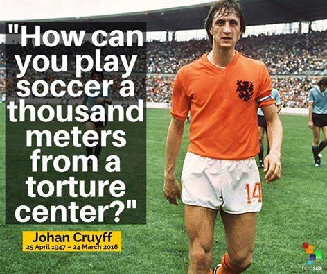 E' morto Cruyff, il campione che non giocò i mondiali della tortura