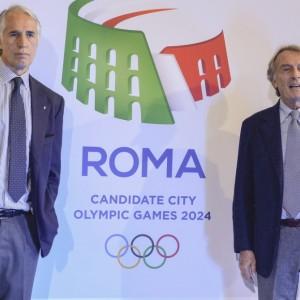 Malagò e Montezemolo accanto al logo di Roma 2024