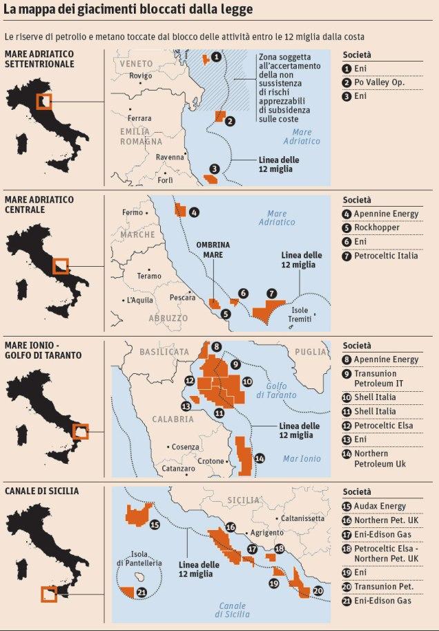 Mappa dei giacimenti interessati