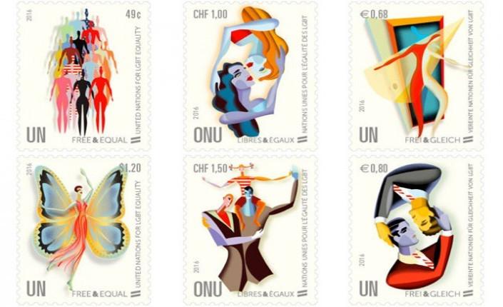 """Francobolli della campagna """"Liberi e uguali"""" dell'ONU in difesa dei diritti delle persone LGBT. 2016. Credido: Amministrazione Postale ONU"""