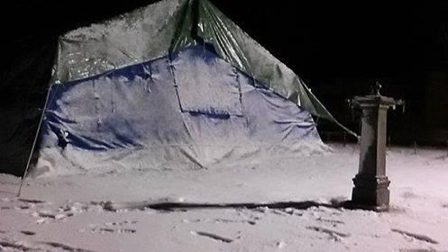 Il campo delle Bsa di Norcia dopo la nevicata dell'Epifania