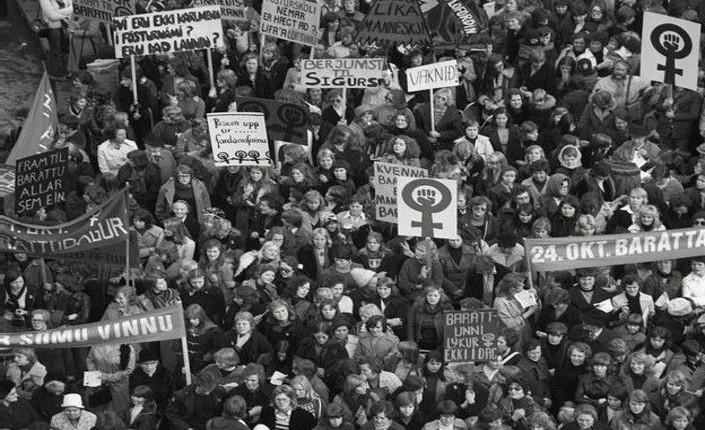 Donne in piazza a Reykjavík, 24 ottobre 1975. fonte: Women's  History Archives.