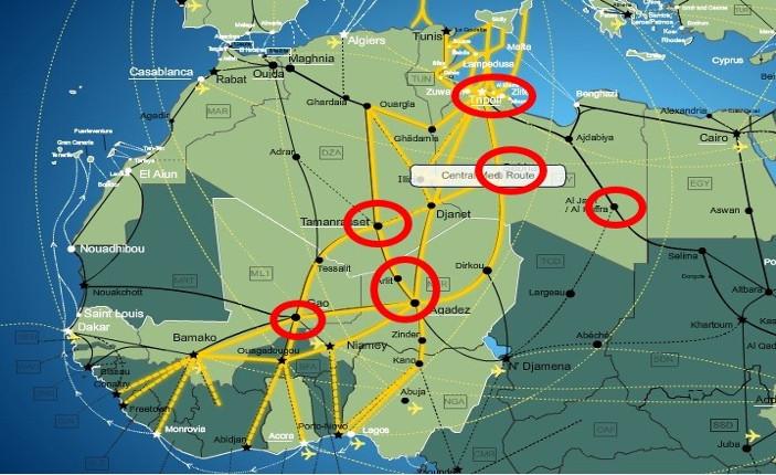 rotte verso il Mediterraneo e principali centri detentivi per migranti lungo le stesse