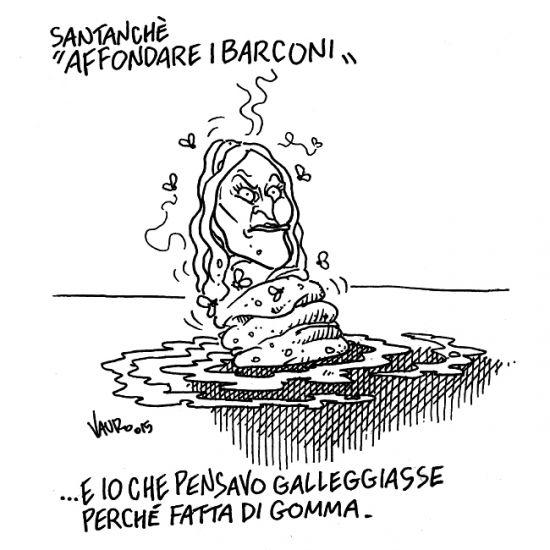 una vignetta del 2015, di Vauro, dopo l'ennesima sparata razzista della Santanchè