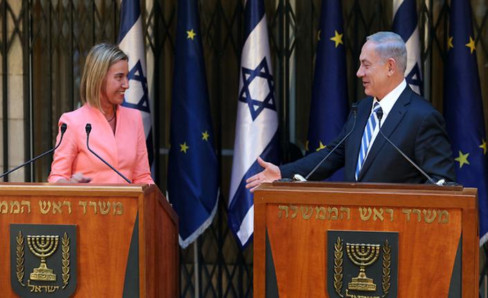 L'Alto rappresentante per gli affari esteri dell'UE, Federica Mogherini, e il primo ministro israeliano Benjamin Netanyahu