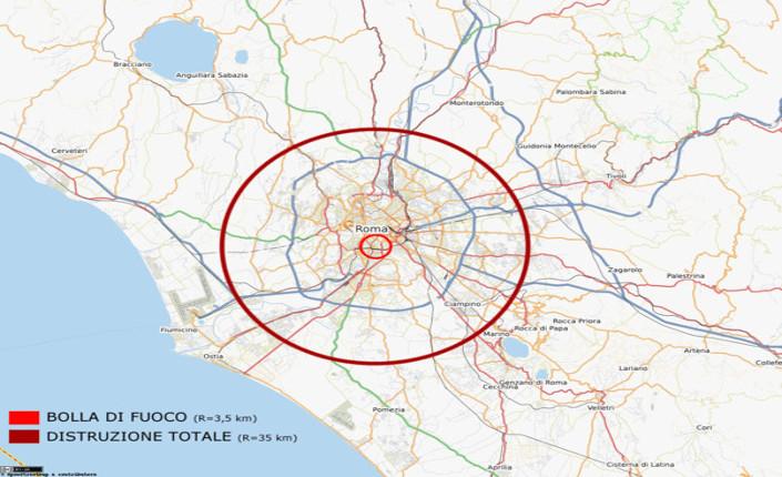 Raggio di azione di una Bomba Zar se esplodesse su Roma. Fonte: Wikipedia